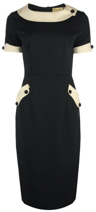 Curvy fashion (even 4X): Lindy Bop Classy 'Tiffany' Vintage 1950's Collared Pencil Wiggle Dress. Love this Audrey Hepburn style dress, in black and white. #plus size