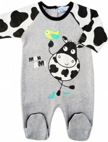 995d26635606a Pyjama bébé mixte en coton gris chiné Vache   Babystock