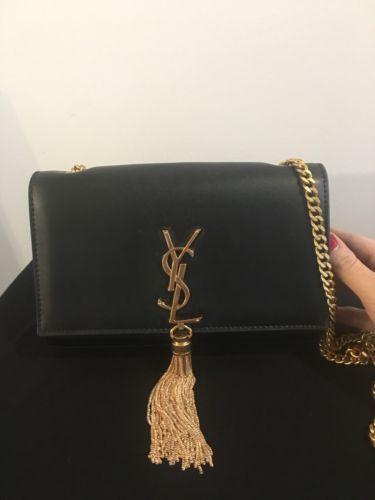 7ff475d7e2 Details about Saint Laurent Kate black leather YSL monogram logo ...