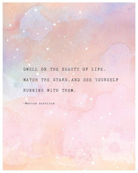 Poetry art, Marcus Aurelius quote poster, dwell on the beauty of life, wall decor, watercolor art, q