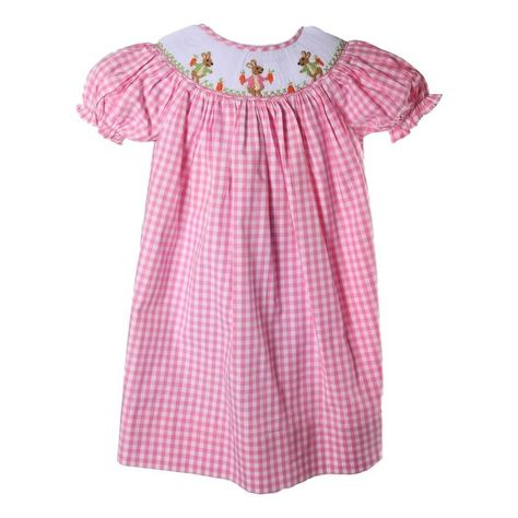 170e47fec Pink Check Smocked Bunny and Carrot Bishop - This adorable pink check Easter  bishop dress features three smocked bunnies with carrots on a pretty white  ...