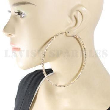 8cm Crystal Large Rhinestone Hoop Earrings Gold