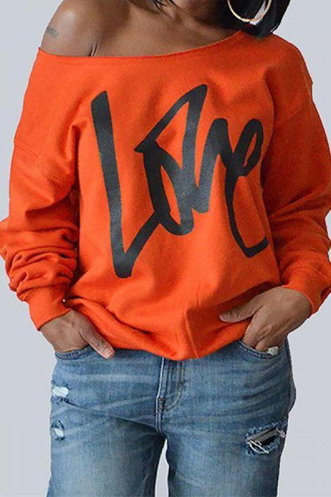 YYear Womens Long Sleeve One Shoulder Letters Print Basic Pullover Sweatshirt