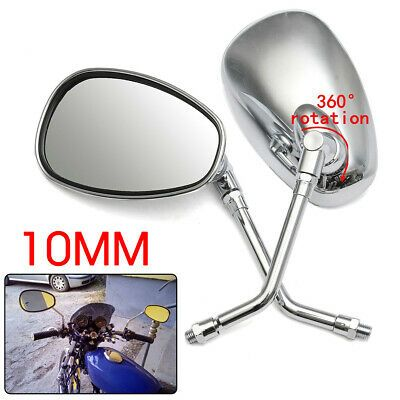 8mm//10mm Black Rectangle Motorcycle Rearview Side Mirrors for Honda Kawasaki Suzuki Yamaha Cruiser Chopper