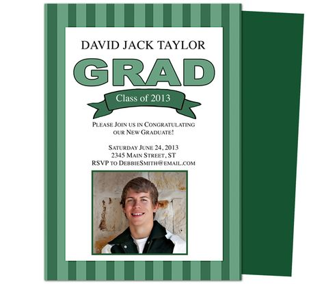 Graduation Announcements Templates: Printable DIY Stripes Graduation Party Announcement Template