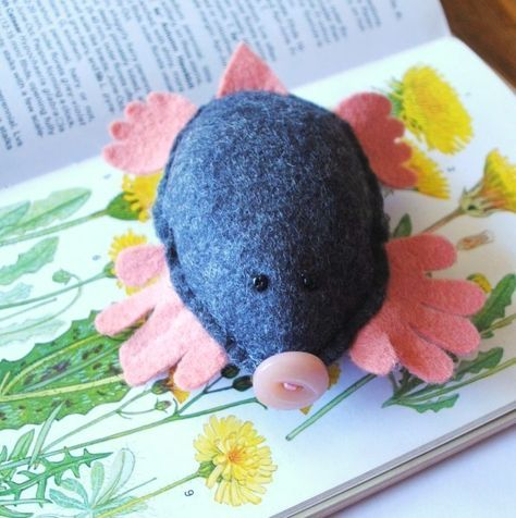 This little mole is very well read and is seen here enjoying learning all about his favourite wild flowers. He is made of charcoal grey wool felt with coral-pink hands and feet and a cute pink vintage button nose! I have given Mole two tiny black b.