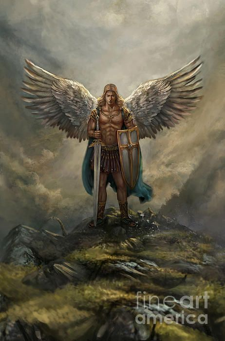 St Michael Archangel Wall Art - Digital Art - Archangel Michael by Robert Greco St. Michael Tattoo, Archangel Michael Tattoo, Male Angels, Black Angels, Archangel Raphael, Raphael Angel, Angel Warrior, Angel Pictures, Angels Among Us