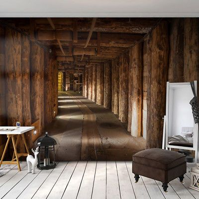 Vlies Fototapete Holz Tunnel Braun 3d Effekt Tapete Schlafzimmer Wandbilder Xxl 3d Tapete Tapeten Tapeten Wohnzimmer