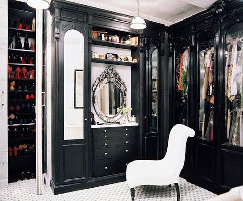 Glamorous black custom closet design | decorpad.com