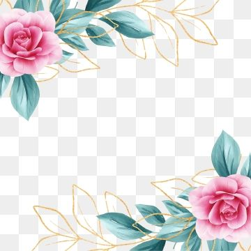 Square Floral Frame With Watercolor Flowers Border And Outlined Leaves Floral Clipart Invitation Flowers Png Transparent Clipart Image And Psd File For Free Flower Border Floral Border Design Flower Png Images