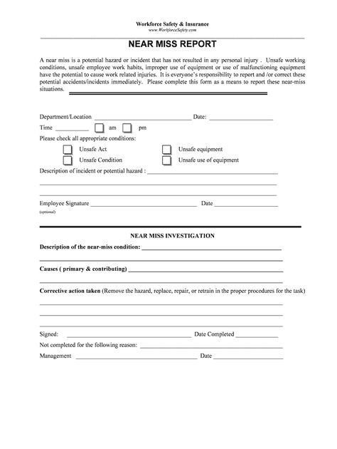 Near Miss Reporting Form Fill Online Printable Fillable Blank