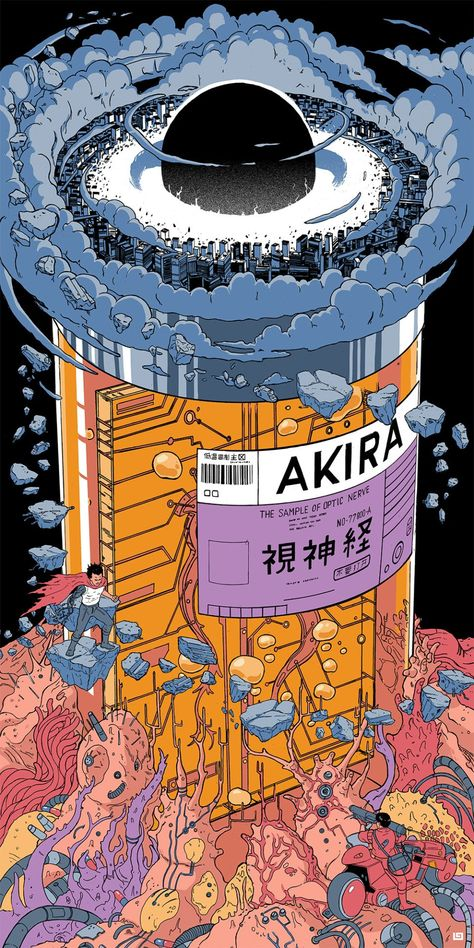 """Akira"" by Laurie Greasley - Hero Complex Gallery Ps Wallpaper, Trippy Wallpaper, Aesthetic Iphone Wallpaper, Aesthetic Wallpapers, Japanese Wallpaper Iphone, Japanese Graphic Design, Japanese Art, Japanese Poster, Psychedelic Art"