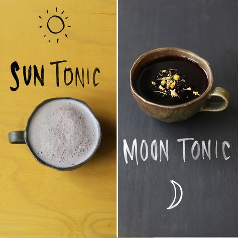 Sun & Moon Tonics One to make as soon as you wake… to take with the sun and breathe life into your day. The other to sip by the side of the moon… relaxing the soul and preparing the body for a night filled with restful dreams.