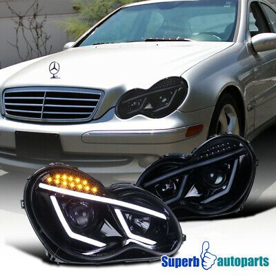 Glossy Black 01 07 Benz W203 C Class Projector Headlights Smoke