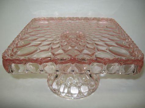 Square Pink Rose Glass cake serving stand plate platter pedestal raised tray art | eBay