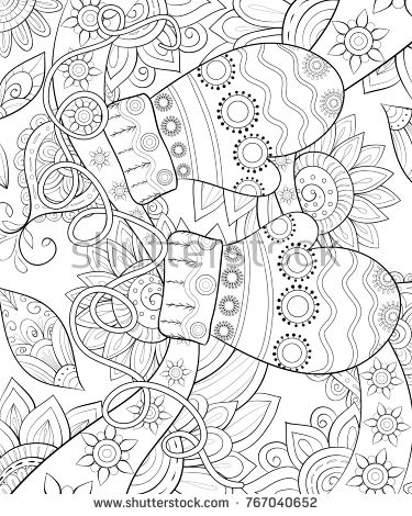 Adult Coloring Page A Christmas Theme Illustration With Pair Of