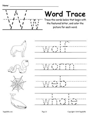 Letter W Words Free Alphabet Tracing Worksheet Kindergarten Worksheets Printable Kindergarten Worksheets Letter W Worksheets