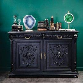 Buffet De Style Henri Ii Noir Mat Peindre Des Meubles Anciens Deco Salon Cosy Meuble Noir Et Bois