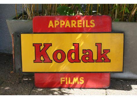 Plaque émaillée publicitaire photo Kodaks 1930