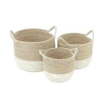 Rosalyn Water Hyacinth Wicker Basket Reviews Allmodern Seagrass Basket Basket Sets Cosmoliving By Cosmopolitan