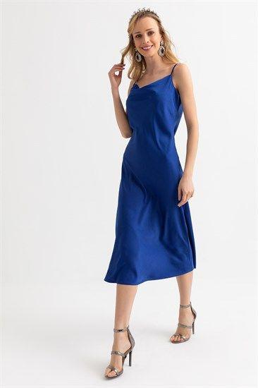 Askili Saten Elbise Saks Kadin Giyim Giyim The Dress