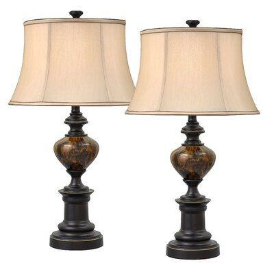 Charlton Home Pelagia Bell 28 Table Lamp Shade Color Table Lamp Sets Table Lamp Bronze Table Lamp