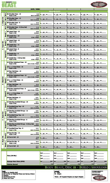 Body Beast Workout Schedule - Includes PDF versions of Body Beast - beast workout sheet