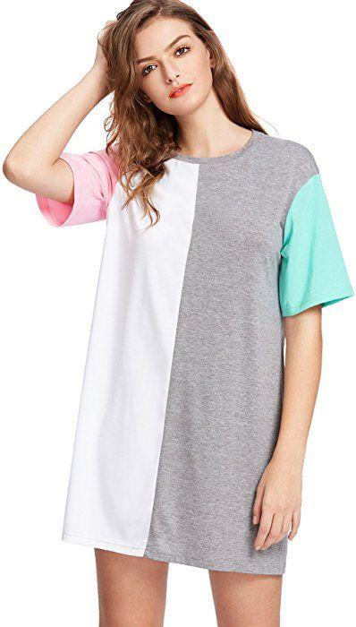 1ab3ac9350da7 Romwe Women's Color Block Cut and Sew Round Neck Tee Shirt Short ...