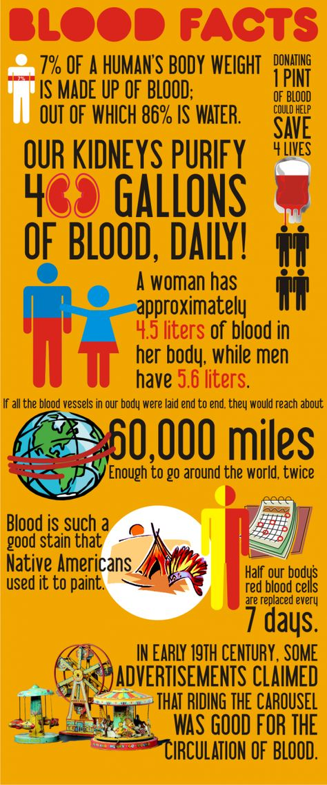 This infographics shows blood facts, it's purpose and use in the body.