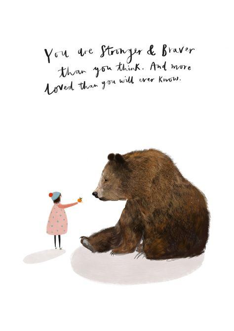 Girl and Bear Motivational Art Print by Katy Pillinger designs
