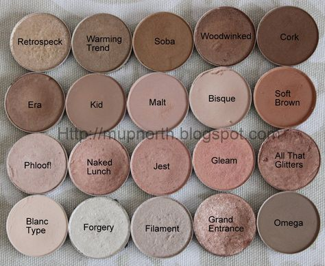M.A.C eyeshadows: 'Retrospeck', 'Warming Trend', 'Soba', 'Woodwinked', 'Cork', 'Era', 'Kid', 'Malt', 'Bisque', 'Soft Brown' 'Phloof!', 'Naked Lunch', 'Jest', 'Gleam', 'All that Glitters', 'Blanc Type', 'Forgery', 'Filament', 'Grand Entrance' and 'Omega'