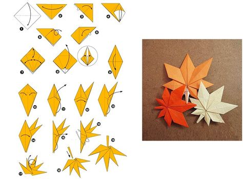 kokoro-takeda: Maple Leaf Origami (Taken from:. - A Year of OrigamiManual DIY style is simple and beautiful Maple Leaf Origamimaple origami activity for kids?Collection of origami folded by myself and fellow origamists Model name and original artist Origami And Kirigami, Origami Folding, Paper Crafts Origami, Paper Crafting, Oragami, Paper Folding, Origami Maple Leaf, Origami Leaves, Origami Stars