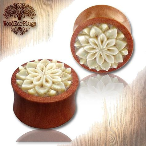Pair of Organic Sawo Wood Carved Flower Double Flared Plugs
