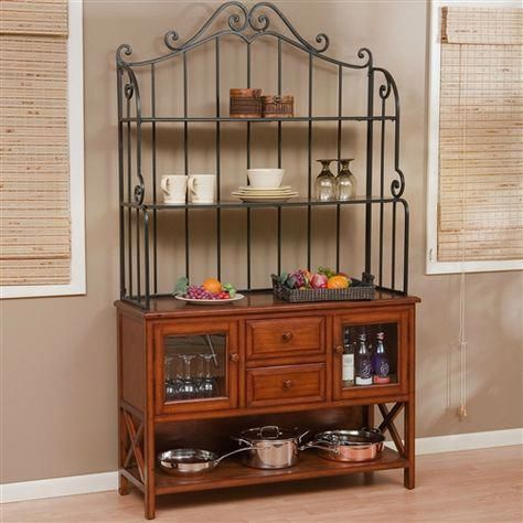 Wrought Iron Top 47 Inch Bakers Rack In Heritage Oak Wood Finish