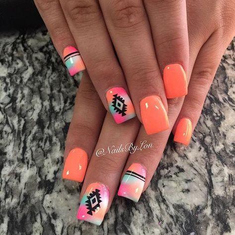 Country Girl Nails, Country Nail Art, Rodeo Nails, Western Nail Art, Girls Nail Designs, Aztec Nail Designs, Orange Nail Designs, Art Designs, Indian Nails