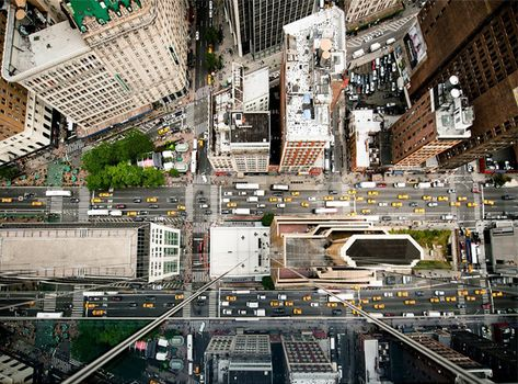 Cars In  Point Perspective Bird Eye View