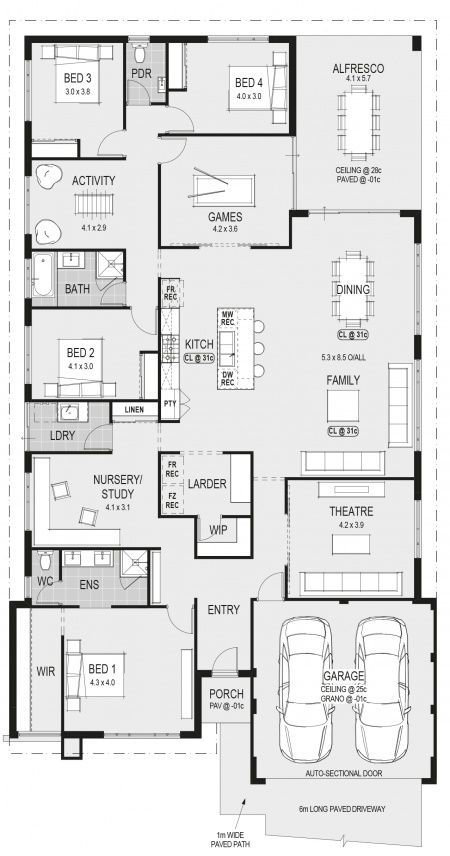 The Bordeaux Floorplan Activity Bed Rm Guest Game Rm Kids Play Rm House Plans Australia Family House Plans Dream House Plans