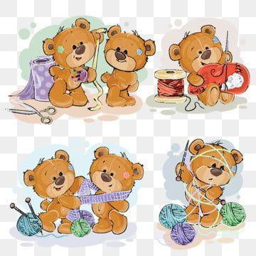 Set Of Vector Clip Art Illustrations Of Teddy Bears And Their Ha Png And Vector In 2020 Clip Art Illustration Art Teddy