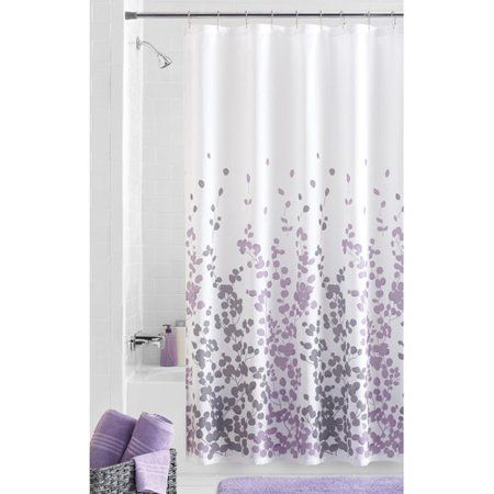 Mainstays Sylvia Fabric Shower Curtain Walmart Com Purple Shower Curtain Purple Bathroom Decor Gray Shower
