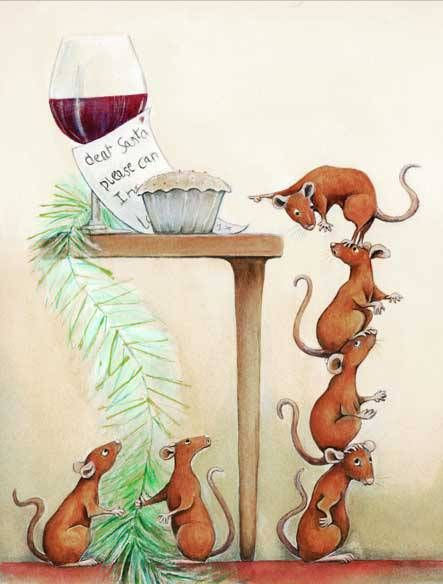 Painting of Mice Mischief at Christmas time by Diane Young Mouse