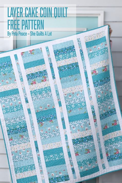 Couette Cake Coin Quilt: Un modèle gratuit - Elle Quilts Alot - Layer Cake Layer Cake Quilt Patterns, Layer Cake Quilts, Jelly Roll Quilt Patterns, Quilt Block Patterns, Easy Quilt Patterns Free, Layer Cakes, Quilt Patterns For Beginners, Simple Quilt Pattern, Patchwork Patterns