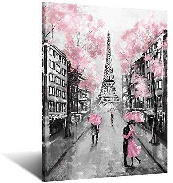Amazon Com Iknow Foto Eiffel Tower Decor For Bedroom Pink Paris Theme Room Wall Art Canvas Prints B Paris Paintings Canvas Wall Art Pictures Wall Art Painting