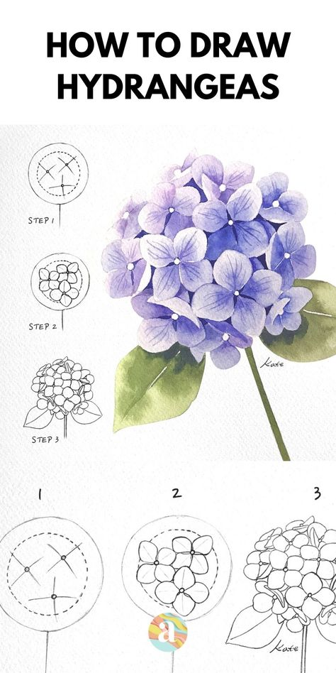 Flower Art Drawing, Flower Drawing Tutorials, Flower Sketches, Floral Drawing, Floral Watercolor, Simple Watercolor, Realistic Flower Drawing, Painting Flowers Tutorial, Watercolor Pencil Art