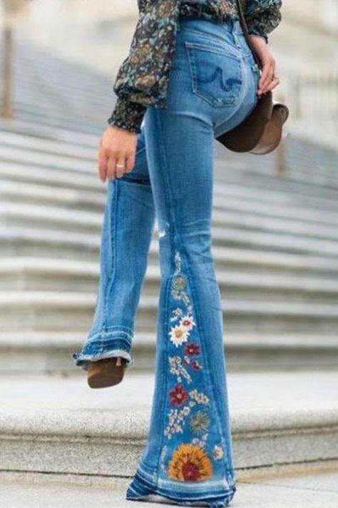 Casual Embroidery Mid Waist Pants - shopingnova