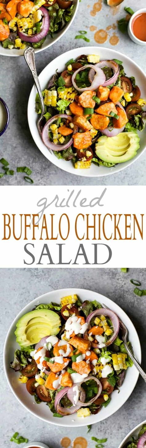 Grilled Buffalo Chicken Salad is an easy 30 minute recipe smothered in buffalo sauce and filled with grilled vegetables for one delicious salad bite! #chickensalad #chicken #buffalochicken #worklunch #healthysalad