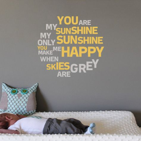 You are my Sunshine Nursery Wall Quote Art Decal Mural Sticker for Wall   eBay