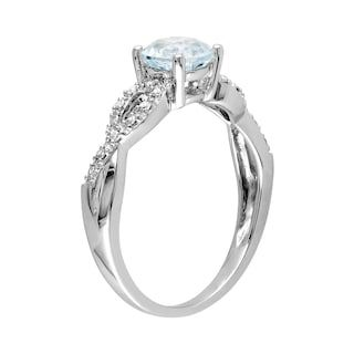 Stella Grace Aquamarine And Diamond Accent Infinity Engagement Ring In 10k White Gold Infinity Engagement Ring Engagement Rings Infinity Engagement