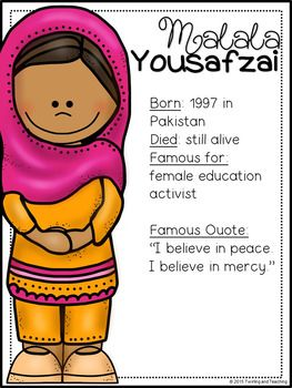 Malala Yousafzai Biography Pack Distance Learning Com Imagens