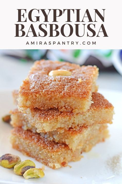 Egyptian basbousa is one of the most famous Arabic sweets. Semolina mixed with b… Egyptian basbousa is one of the most famous Arabic sweets. Semolina mixed with butter, sugar, yogurt and coconut and drizzled with flavored sugar syrup. Arabic Dessert, Arabic Sweets, Arabic Food, Semolina Recipe, Semolina Cake, Basbousa Recipe Coconut, Egyptian Desserts, Egyptian Food, Crack Crackers