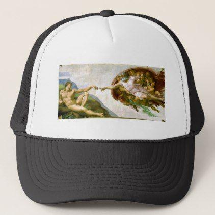 898330d167c Michelangelo - Creation of Adam Painting Trucker Hat